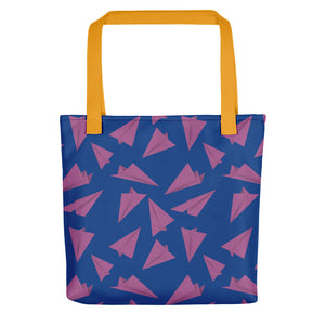 Paper Planes Pattern | Blue and Purple | Tote Bag-tote bags-Yellow-Eggenland