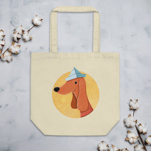 Dog With Newspaper Hat | Eco Tote Bag-tote bags-Oyster-Eggenland