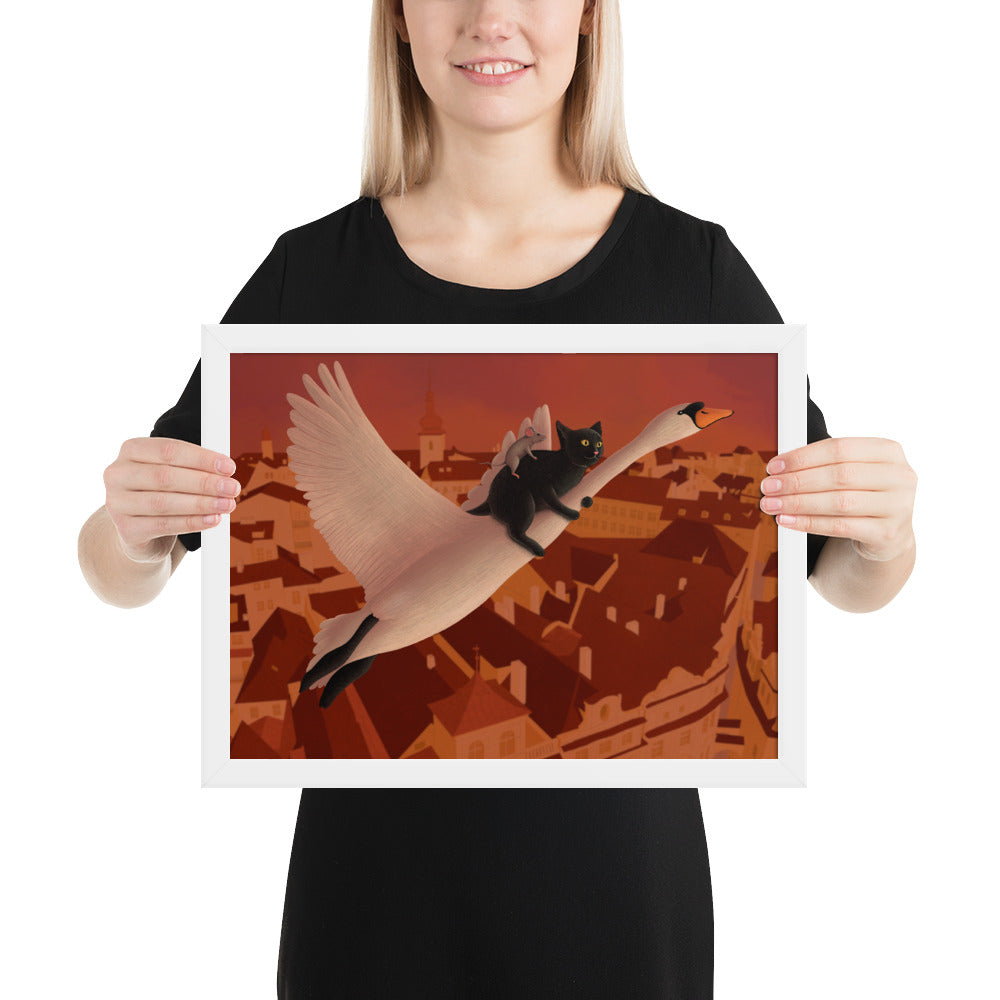 Swan, Cat and Mouse Flying Above Prague | Illustration | Framed Poster-framed posters-White-12×16-Eggenland
