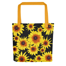 Load image into Gallery viewer, Blooming Flowers | Black | Tote Bag-tote bags-Yellow-Eggenland