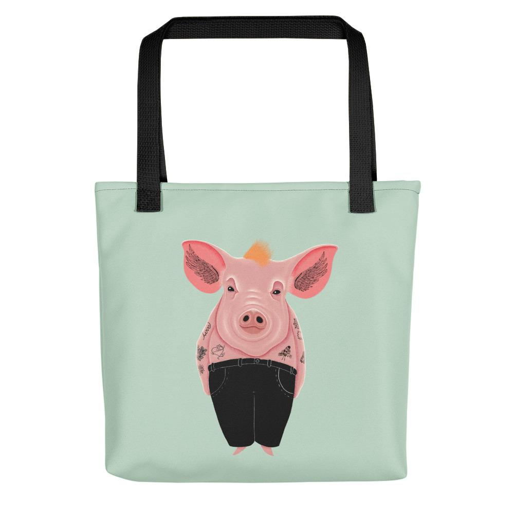 Cool Pig with Tattoos | Light Green | Tote Bag-tote bags-Black-Eggenland