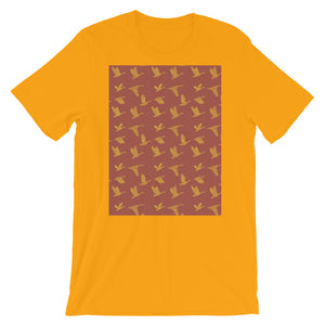 Flying Birds Pattern | Red | Short-Sleeve Unisex T-Shirt-t-shirts-Gold-S-Eggenland