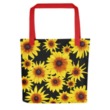 Load image into Gallery viewer, Blooming Flowers | Black | Tote Bag-tote bags-Red-Eggenland