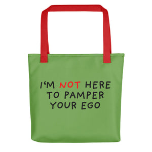 No Ego Pampering | Green | Tote Bag-tote bags-Red-Eggenland