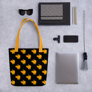 Yellow Cat Pattern | Black | Tote Bag-tote bags-Eggenland