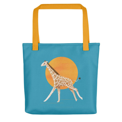 Giraffe and Sun | Blue | Tote Bag-tote bags-Yellow-Eggenland