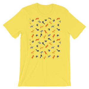 Funky Cats Pattern | Short-Sleeve Unisex T-Shirt-t-shirts-Yellow-S-Eggenland