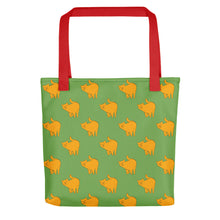 Load image into Gallery viewer, Yellow Cat Pattern | Green | Tote Bag-tote bags-Red-Eggenland