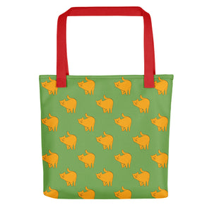 Yellow Cat Pattern | Green | Tote Bag-tote bags-Red-Eggenland