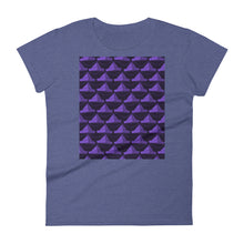 Load image into Gallery viewer, Paper Hats Pattern | Dark Violet | Women's Short-Sleeve T-Shirt-t-shirts-Heather Blue-S-Eggenland