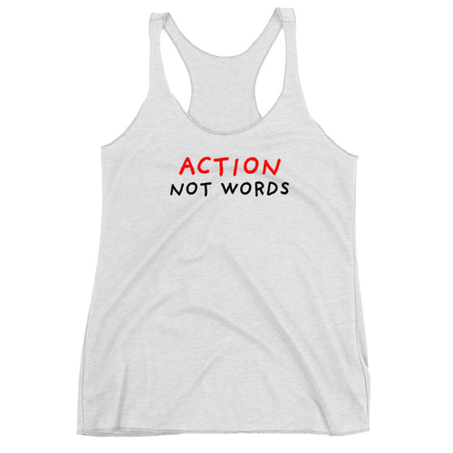 Action Not Words | Women's Racerback Tank-tank tops-Heather White-XS-Eggenland
