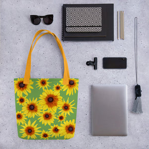 Blooming Flowers | Green | Tote Bag-tote bags-Eggenland
