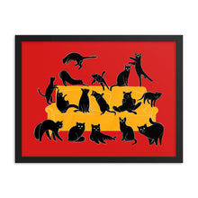 Load image into Gallery viewer, Black Cats Party | Red | Illustration | Framed Poster-framed posters-Eggenland