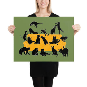 Black Cats Party | Green | Illustration | Poster-posters-18×24-Eggenland