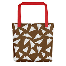 Load image into Gallery viewer, Paper Planes Pattern | Brown and White | Tote Bag-tote bags-Red-Eggenland