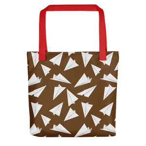 Paper Planes Pattern | Brown and White | Tote Bag-tote bags-Red-Eggenland