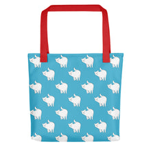 Load image into Gallery viewer, Cute Cat Pattern | Blue and White | Tote Bag-tote bags-Red-Eggenland