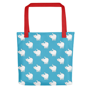 Cute Cat Pattern | Blue and White | Tote Bag-tote bags-Red-Eggenland