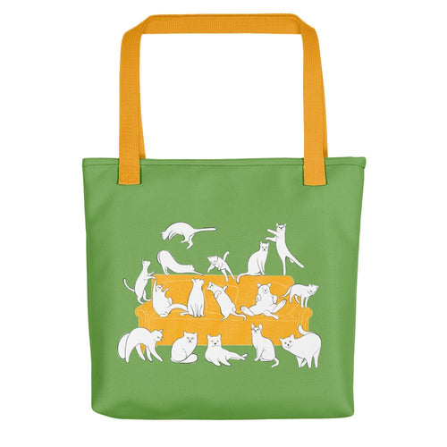 Cats Party | Green | Tote Bag-tote bags-Yellow-Eggenland