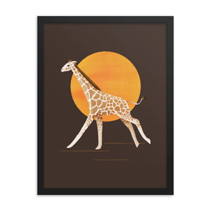 Giraffe and Sun | Illustration | Brown | Framed Posters-framed posters-Eggenland