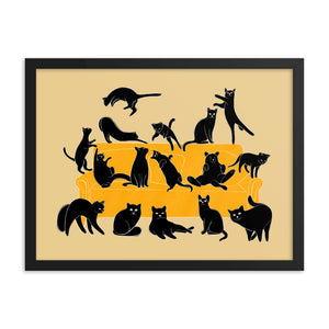 Black Cats Party | Cream | Illustration | Framed Poster-framed posters-Eggenland