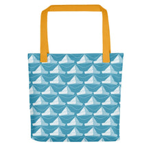Load image into Gallery viewer, Newspaper Hats Pattern | Blue | Tote Bag-tote bags-Yellow-Eggenland