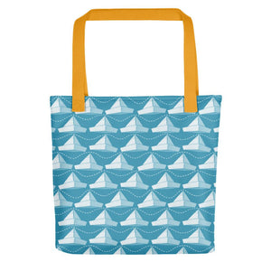 Newspaper Hats Pattern | Blue | Tote Bag-tote bags-Yellow-Eggenland
