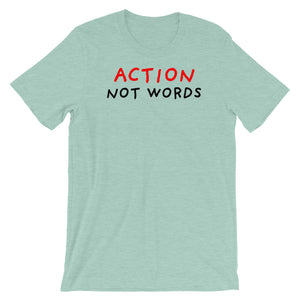 Action Not Words | Short-Sleeve Unisex T-Shirt-t-shirts-Heather Prism Dusty Blue-S-Eggenland