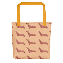 Load image into Gallery viewer, Dachshund Dog Pattern | Cream | Tote Bag-tote bags-Yellow-Eggenland