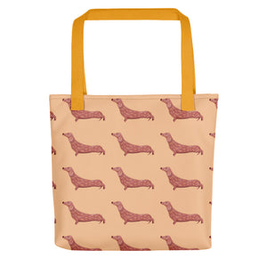 Dachshund Dog Pattern | Cream | Tote Bag-tote bags-Yellow-Eggenland