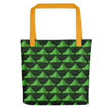Load image into Gallery viewer, Newspaper Hats Pattern | Green | Tote Bag-tote bags-Yellow-Eggenland