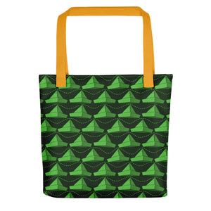 Newspaper Hats Pattern | Green | Tote Bag-tote bags-Yellow-Eggenland