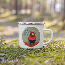 Load image into Gallery viewer, Bear and Butterfly | Enamel Mug-enamel mugs-Eggenland