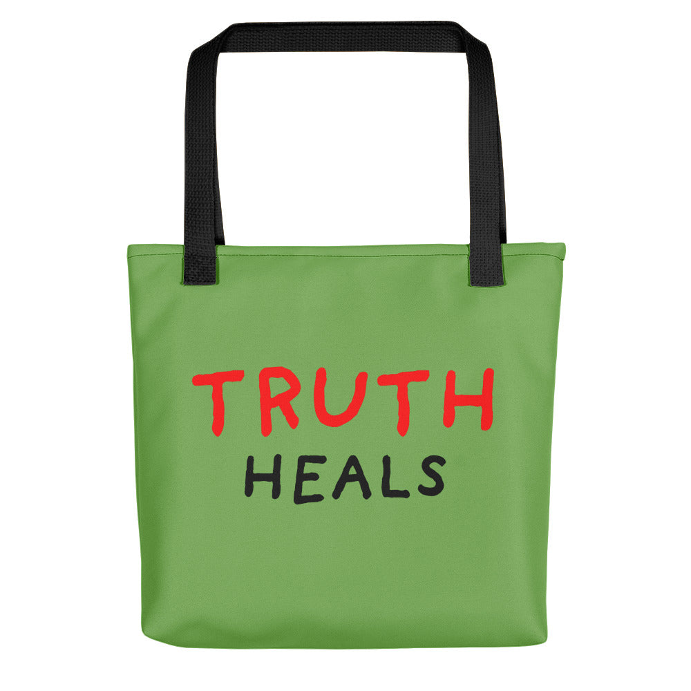 Truth Heals | Green | Tote Bag-tote bags-Black-Eggenland