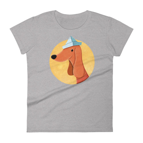Dog with Newspaper Hat | Women's Short-Sleeve T-Shirt-t-shirts-Heather Grey-S-Eggenland