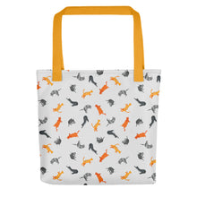 Load image into Gallery viewer, Funky Cats Pattern | Light Grey | Tote Bag-tote bags-Yellow-Eggenland