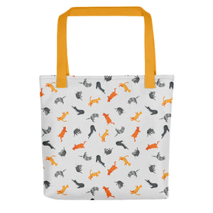 Funky Cats Pattern | Light Grey | Tote Bag-tote bags-Yellow-Eggenland