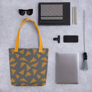 Paper Planes Pattern | Grey and Golden | Tote Bag-tote bags-Eggenland