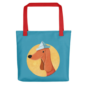 Dog with Paper Hat | Blue | Tote Bag-tote bags-Red-Eggenland