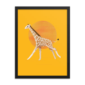 Giraffe and Sun | Illustration | Yellow | Framed Poster-framed posters-Eggenland