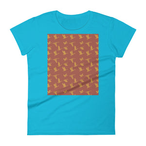 Flying Birds Pattern | Red | Women's Short-Sleeve T-Shirt-t-shirts-Caribbean Blue-S-Eggenland