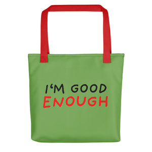 Good Enough | Green | Tote Bag-tote bags-Red-Eggenland