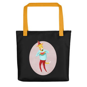 Dog with Watermelon | Black | Tote Bag-tote bags-Yellow-Eggenland
