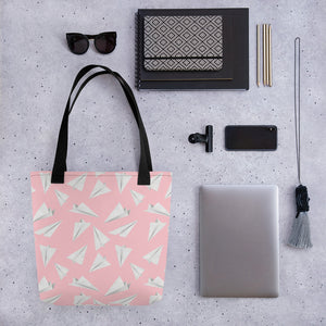 Paper Planes Pattern | Pink and White | Tote Bag-tote bags-Eggenland