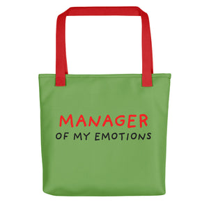 Manager of My Emotions | Green | Tote Bag-tote bags-Red-Eggenland
