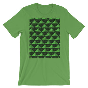 Paper Hats Pattern | Green | Short-Sleeve Unisex T-Shirt-t-shirts-Leaf-S-Eggenland
