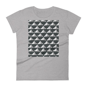 Paper Hats Pattern | Black and White | Women's Short-Sleeve T-Shirt-t-shirts-Heather Grey-S-Eggenland