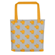 Load image into Gallery viewer, Yellow Cat Pattern | Grey | Tote Bag-tote bags-Yellow-Eggenland