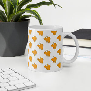 Yellow Cat Pattern | White | Mug-mugs-Eggenland