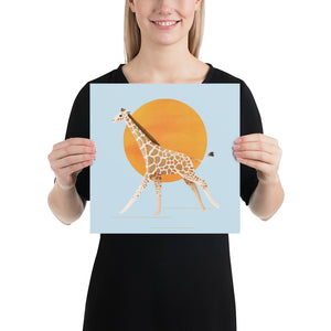 Giraffe and Sun | Blue | Poster-posters-12×12-Eggenland